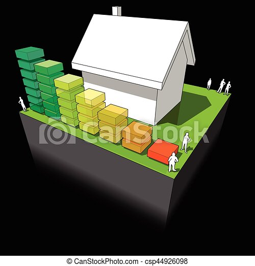 House with energy rating diagram - csp44926098