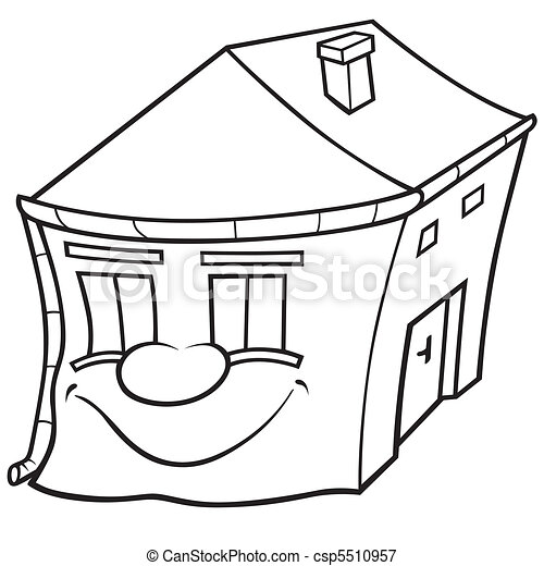 house with face black and white cartoon illustration vector Black and White Cartoon Coins house with face csp5510957