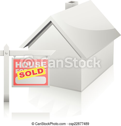 House with For Sale Sign - csp22877489