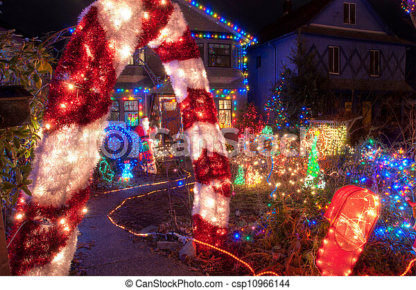 Colorful Christmas Lights On House.House With Many Colorful Christmas Lights