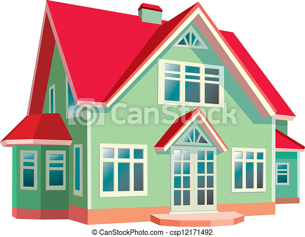 House with red roof on white background - csp12171492