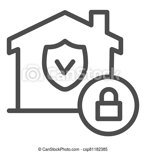 House with safety emblem and lock line icon, smart home symbol, property protection vector sign on white background, approved building security icon in outline style. Vector graphics. - csp81182385