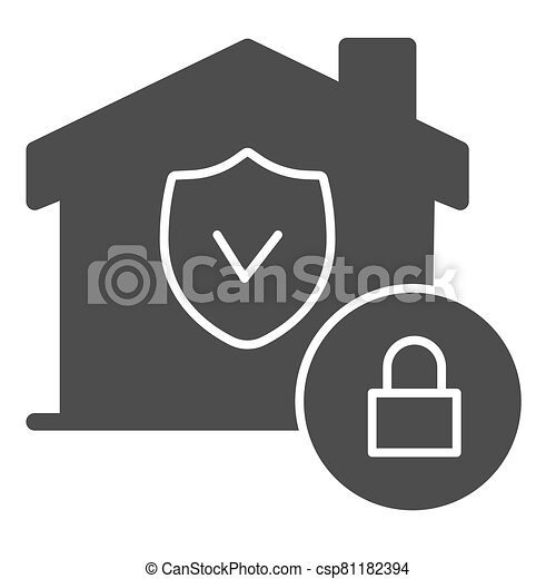 House with safety emblem and lock solid icon, smart home symbol, property protection vector sign on white background, approved building security icon in glyph style. Vector graphics. - csp81182394