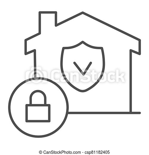 House with safety emblem and lock thin line icon, smart home symbol, property protection vector sign on white background, approved building security icon in outline style. Vector graphics. - csp81182405