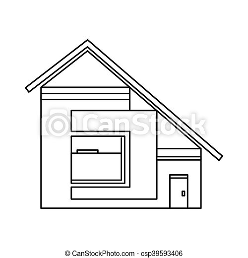 House With Sloping Roof Icon, Outline Style   Csp39593406