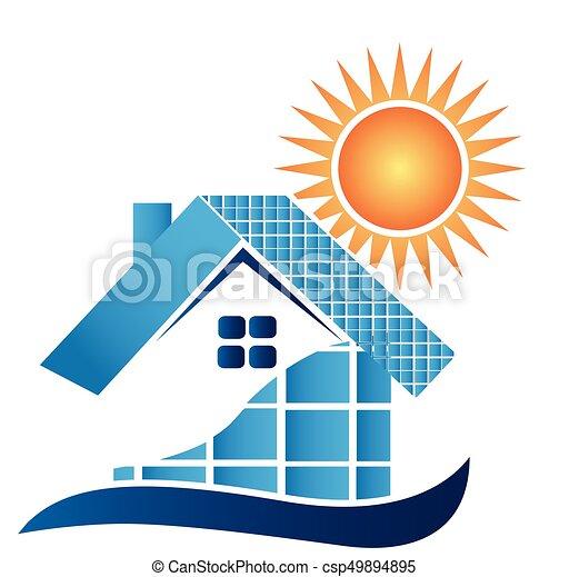 House with solar panels logo - csp49894895