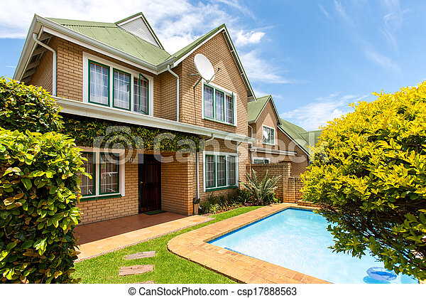 House with swimming pool. - csp17888563