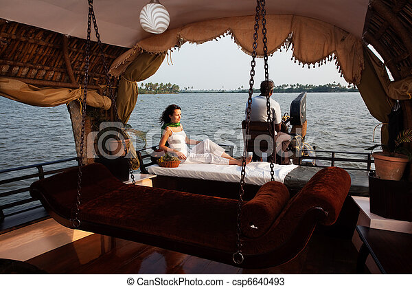 houseboat tour in the backwaters in Kerala state india - csp6640493
