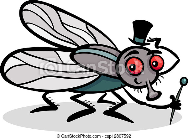 housefly insect cartoon illustration - csp12807592