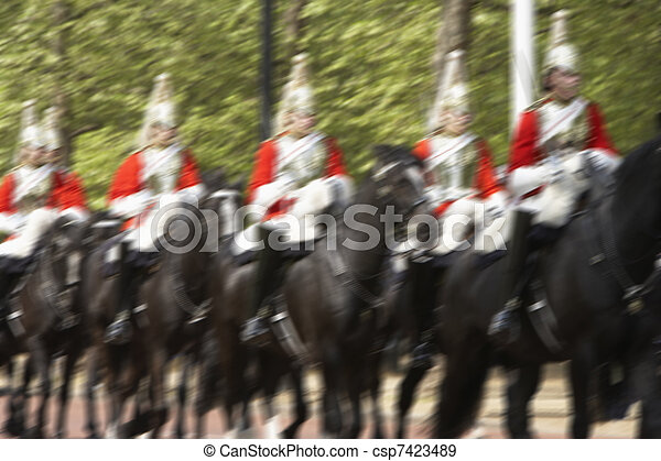 Household Cavalry Riding In The Street - csp7423489