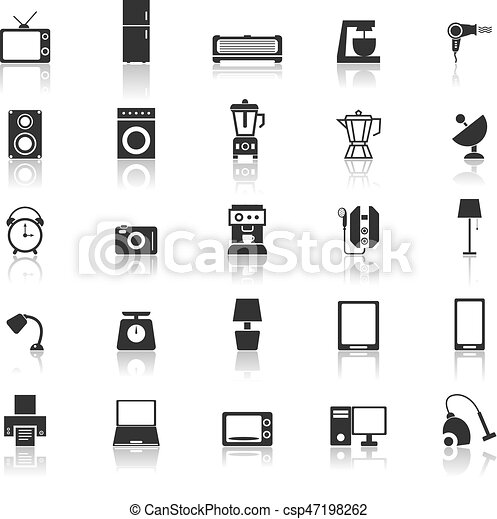 Household icons with reflect on white background - csp47198262