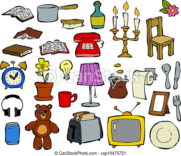 Household items doodle design elements vector illustration for Minimalist household items