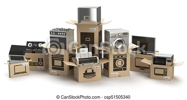 Household Kitchen Appliances And Home Electronics In Boxes Isolated On White E Commerce Internet Stock Illustration