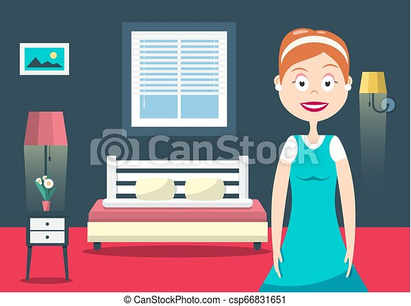 Household Woman in Hotel Room Vector Flat Design Illustration. Bedroom Interior with Bed, lamps and Window. - csp66831651
