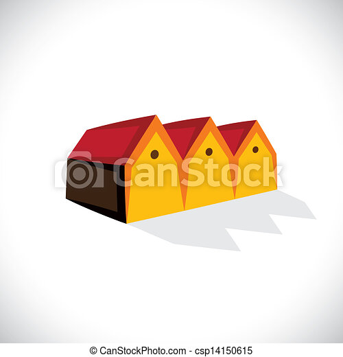 House(home) or store(shed) symbol for real estate- vector graphic. The illustration is also a icon for buying & selling storehouse and residential property, storage office space, etc - csp14150615