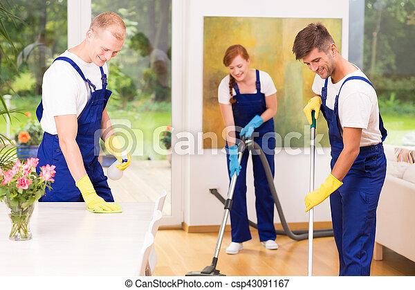 Housekeepers cleaning floor - csp43091167