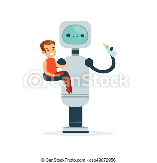 Housemaid baby sitter robot with child vector Illustration - csp49072956