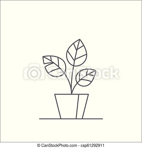 Houseplant editable line vector illustration - outline indoor plant with three big leaves in flowerpot. abstract decorative potted flower isolated on white ...  sc 1 st  Can Stock Photo & Houseplant editable line vector illustration - outline indoor plant ...