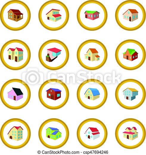 Houses cartoon icon circle - csp47694246