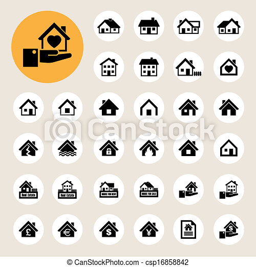 Houses icons set. Real estate. - csp16858842