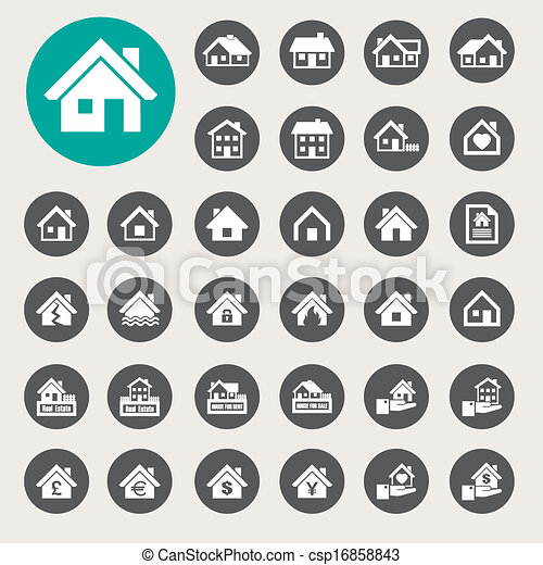 Houses icons set. Real estate. - csp16858843