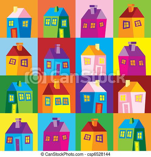 Houses, illustration, wallpaper - csp6528144
