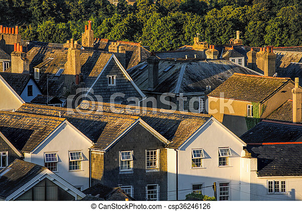 Houses in Totnes, England, United Kingdom - csp36246126