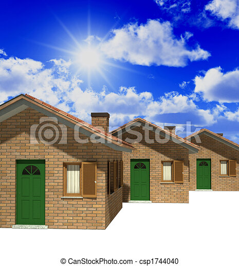 houses model 3d and sky csp1744040 - House Model 3d