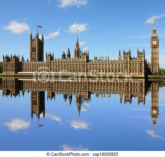 Houses of Parliament and Big Ben in Westminster, London. - csp16020823