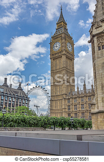 Houses of Parliament at Westminster, London, England - csp55278581