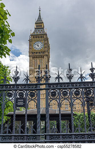 Houses of Parliament at Westminster, London, England - csp55278582