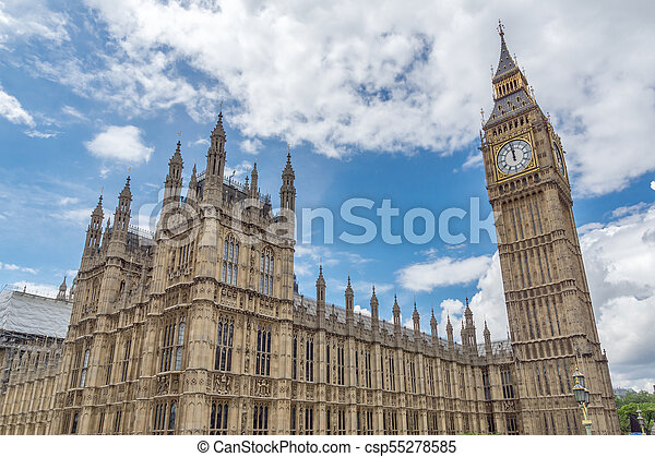 Houses of Parliament at Westminster, London, England - csp55278585