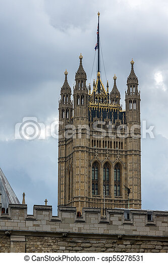Houses of Parliament at Westminster, London, England - csp55278531