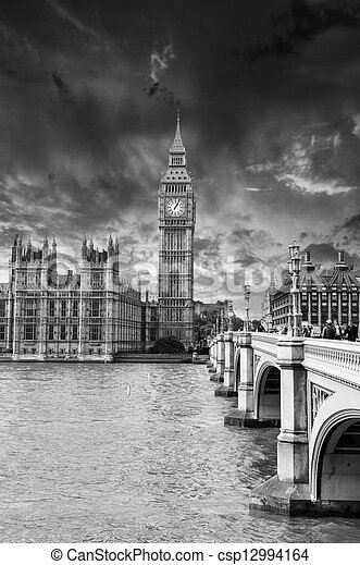 Houses of Parliament, Westminster Palace - London beautiful suns - csp12994164