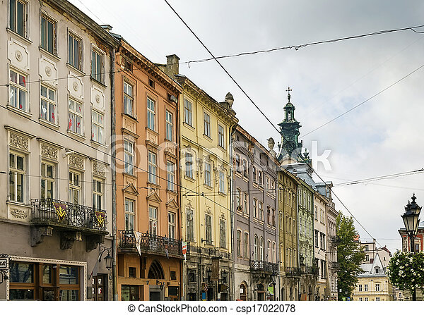 houses on a market square in Lviv - csp17022078