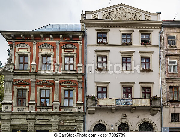 houses on a market square in Lviv - csp17032789