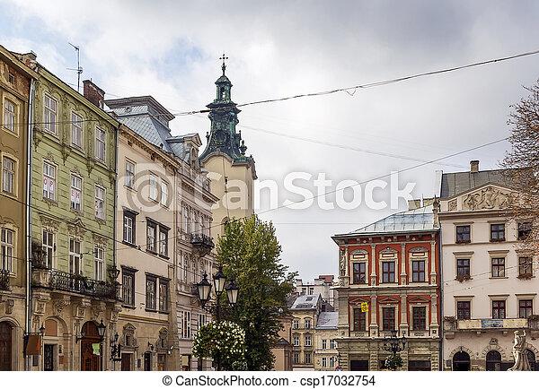 houses on a market square in Lviv - csp17032754