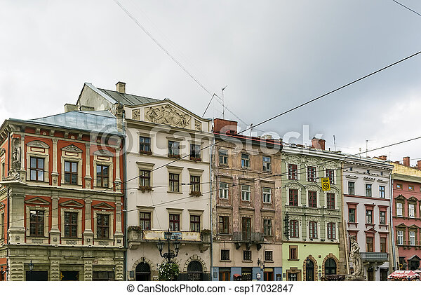 houses on a market square in Lviv - csp17032847