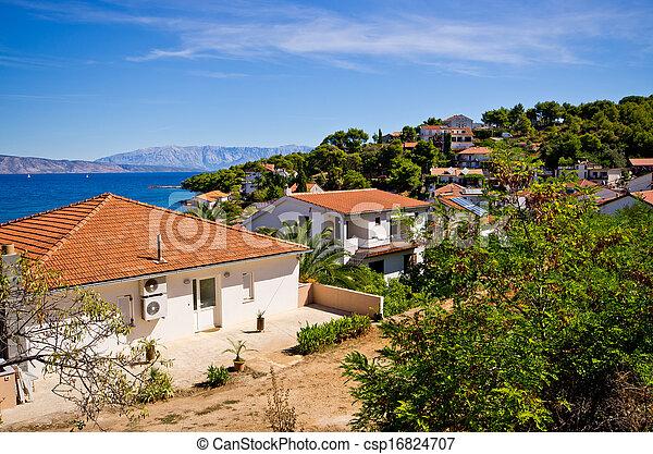 Houses on Croatian seashore - csp16824707