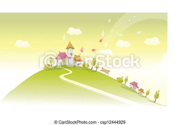 Houses on green landscape - csp12444929
