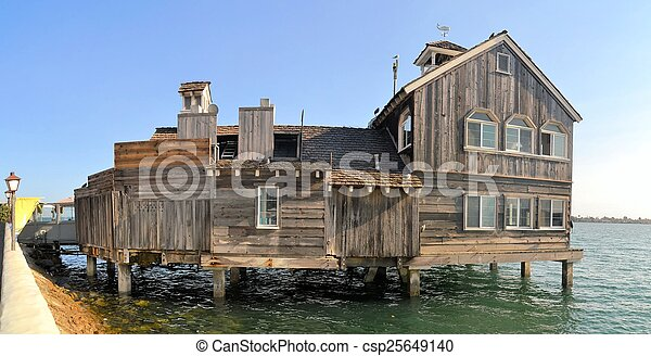 Houses on stilts, palafito, in Castro, Chiloe, Chile - csp25649140