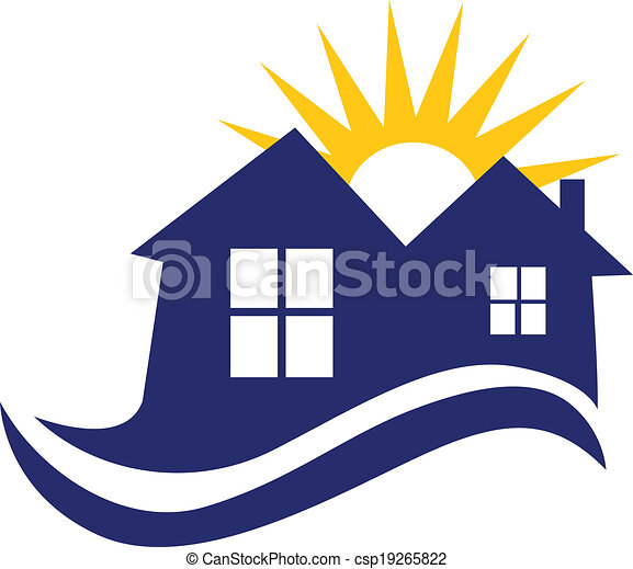 houses sun and waves logo houses sun and waves icon vector vector rh canstockphoto com wave logos free waves logic pro x