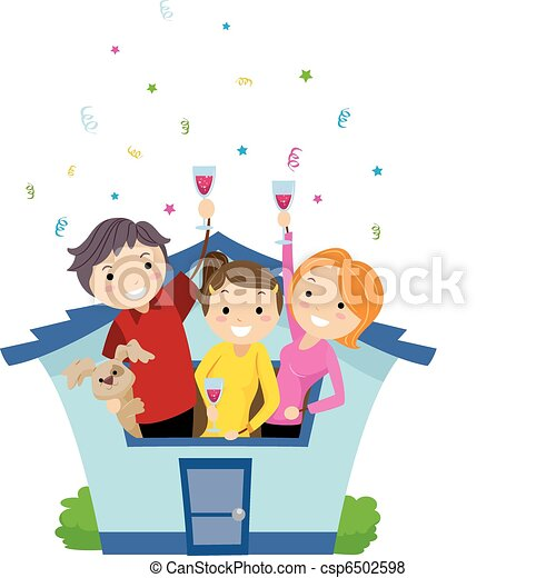 illustration of neighbors having a housewarming party vector rh canstockphoto com housewarming invitation clipart housewarming invitation clipart