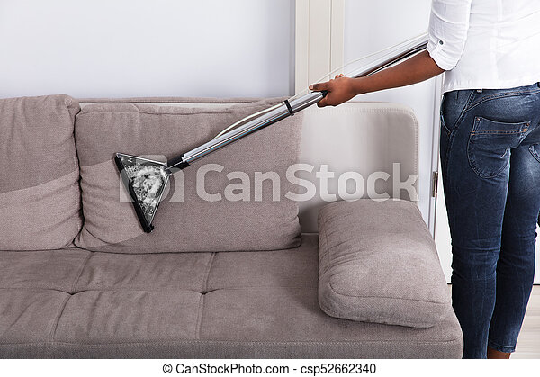 Housewife Cleaning Sofa With Vacuum Cleaner Housewife S Hand
