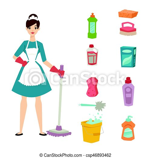 housewife girl homemaker cleaning pretty girl wash cleanser clip rh canstockphoto co uk pretty girl face clipart pretty little girl clipart