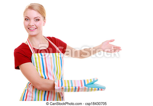 housewife or waitress making inviting welcome gesture kitchen apron isolated - csp18430705