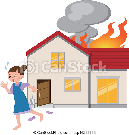 Housewife to escape from fire  - csp16225765