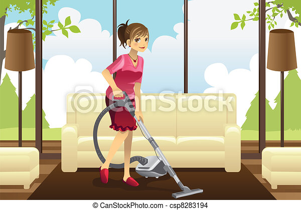Housewife vacuuming carpet - csp8283194