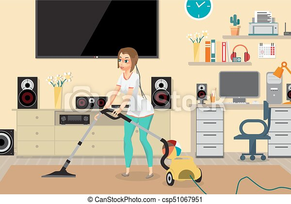 Housewife Vacuuming Home With A Vacuum Cleaner In The Room Young