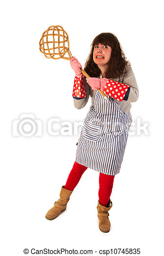 Housewife with carpet beater - csp10745835